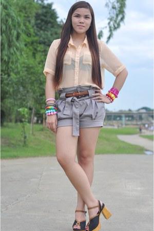 black Jellybean heels - silver Oxygen shorts - cream Jellybean blouse
