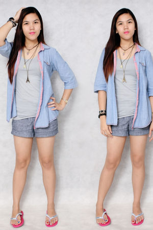 silver Penshoppe intimate - pink Havaianas shoes - blue Folded & Hung blazer