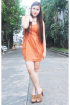 carrot orange Primadonna dress - neutral romwe accessories