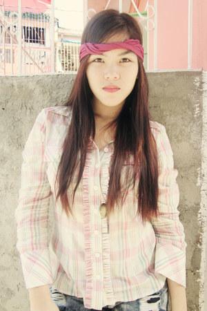 light pink plaid shirt blazer - hot pink Head Dress accessories