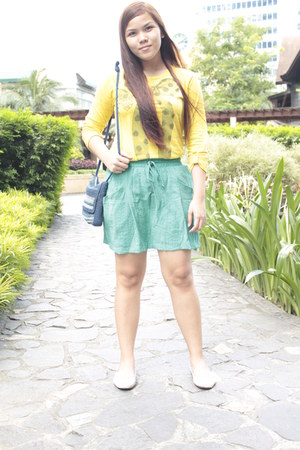 yellow kashieca blouse - turquoise blue Forever 21 skirt