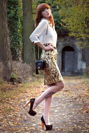 gold Lulus skirt - black Diane Von Furstenberg bag - gold Topshop heels