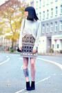 Zara-boots-becksondergaard-bag-hoss-intropia-skirt-rützou-jumper