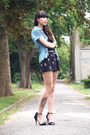 Black-sheinside-shorts-blue-vintage-denim-blouse-black-zara-heels