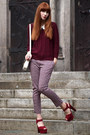 White-bimba-lola-bag-ruby-red-patform-suede-topshop-heels