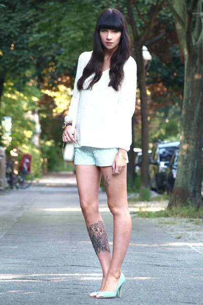 white Bimba &amp; Lola bag - aquamarine Zara shorts - white Zara jumper