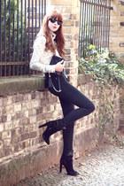 black western-style Zara boots - black hi-waist Cheap Monday jeans