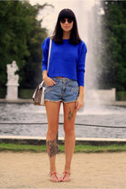 blue chicnova sweater - off white Betty x Lancaster bag - light blue H&M shorts