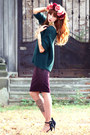 Black-zara-heels-purple-h-m-skirt-teal-zara-jumper-gold-h-m-bracelet