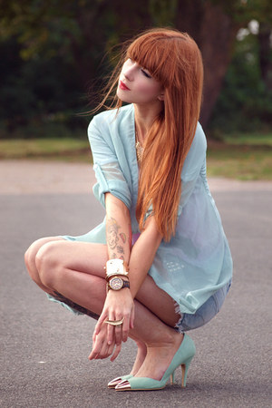 aquamarine Nelly heels - sky blue Zara shorts - aquamarine Sheinside blouse