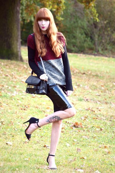 maroon Mango jumper - black PROENZA SCHOULER bag - black Zara heels