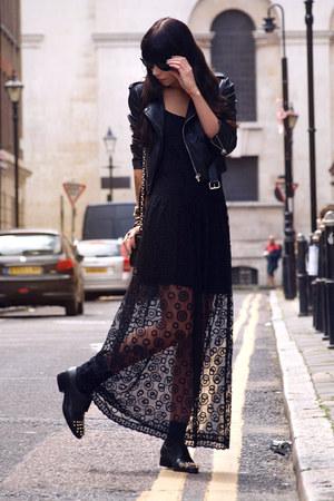 black Zara dress - black Nasty Gal jacket - black Diane Von Furstenberg bag
