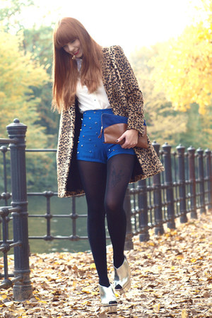 blue Zara bag - camel Mango coat - blue studded blue OMighty shorts
