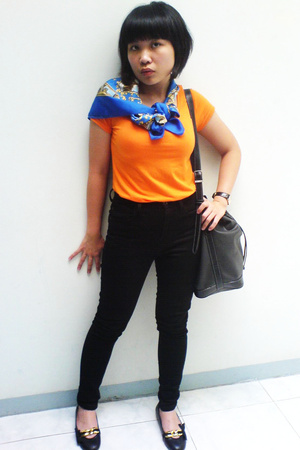 t-shirt - scarf - Mango pants - shoes