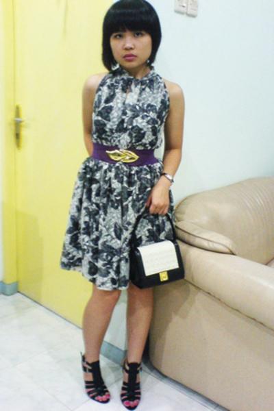 dress - Topshop belt - vintage purse - Nine West shoes
