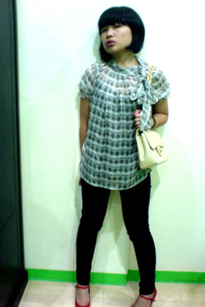 xsml blouse - Mango jeans - Chanel purse - xsml shoes