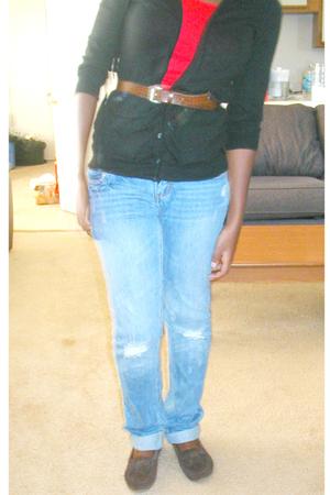 top - American Eagle sweater - Sears jeans - Rack room shoes shoes - random bel