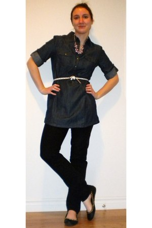 Gap jeans - Gap belt - denim tunic RW&CO top - RW&CO necklace - Aldo flats