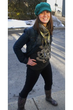 kamik boots - black jeggings DKNY jeans - Sanibel hat - denim jacket RW&CO jacke
