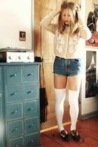 black Vans loafers - blue Levis shorts - camel sweater