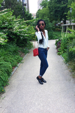 black pull&bear shoes - navy Comptoir des Cotonniers jeans - red Chanel bag