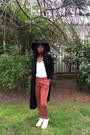 Black-pull-bear-hat-black-only-jacket-burnt-orange-promod-pants