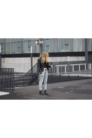 black Dr Martens boots - sky blue Acne Studios jeans - black leather Zara jacket