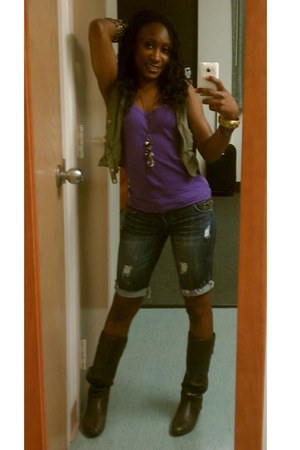boots - purple shirt - aquamarine shorts - olive green vest