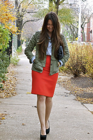 Jcrew skirt - military jacket Anthropologie jacket - Urban Outfitters bag