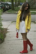 red rain boots Hunter boots - Old Navy jacket - Jcrew shirt - Forever 21 skirt
