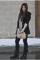 Steve Madden boots - Urban Outfitters blazer - asos purse - lace taupe top Forev
