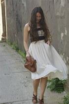 hm bag - Steve Madden heels - hm skirt - Grey Antics top
