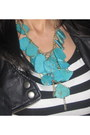 Black-dress-black-leather-jacket-black-pumps-turquoise-blue-necklace