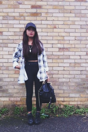 black Urban Outfitters boots - black baseball cap H&M hat - mens thrifted shirt