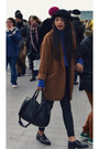 Newlook-coat-black-buckle-office-shoes-black-leather-topshop-pants