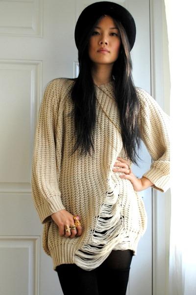 beige knit sweater - black vintage hat - black Primark socks - black Forever 21