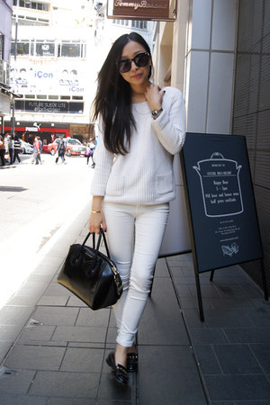 white skinny jeans Zara jeans - white Reiss sweater
