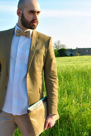 dark khaki Zara blazer - white ovs shirt - tan CJ Creations pants