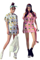 Banana Pattern Short Sleeve Crew Neck Tops High Waist Fitted Dress