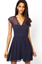 Sexy V-Neck Lace Halter Backless Chiffon Short Sleeve Dress, Dark Blue