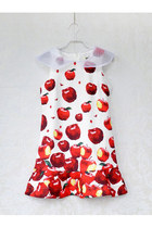 Summer Apple Printing Falbala Doll Collar Dress
