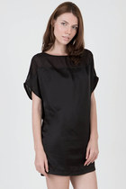 paneled black mini dress