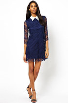Turn Down Collar Lace Splicing Three-quarter Sleeve Dress