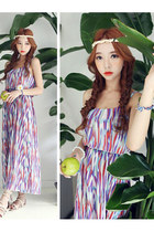 Seaside Holiday Printing Strap Dew Shoulder Lotus Leaf Chiffon Long Dress