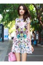 Fashion Retro Printing Round Collar Short Sleeve Dress