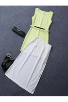 Fashion Women Slim Vest Dress+zipper Open Fork Skirt
