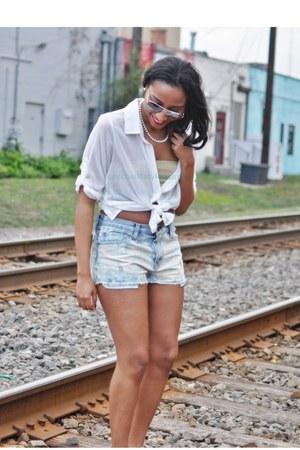 American Rag blouse - Denin & Supply shorts - material girl bra