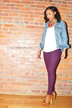 sky blue Aeropostle jacket - Steve Madden shoes - purple HUE leggings