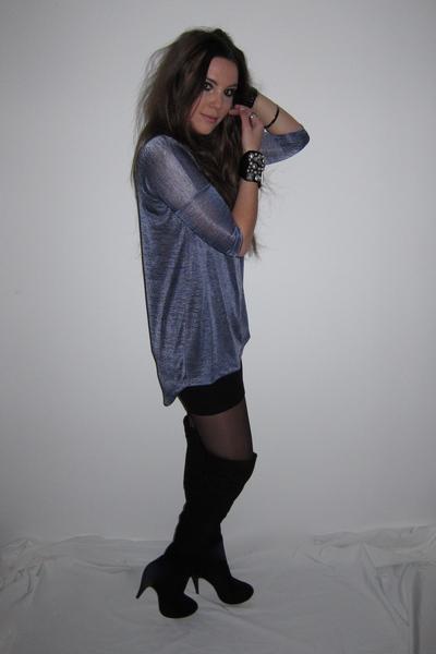 blue H&M sweater - black suede overknee Topshop boots - black bodycon H&M skirt