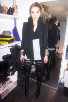black Zara boots - black Zara blazer - black pieces jeans - silver H&M top